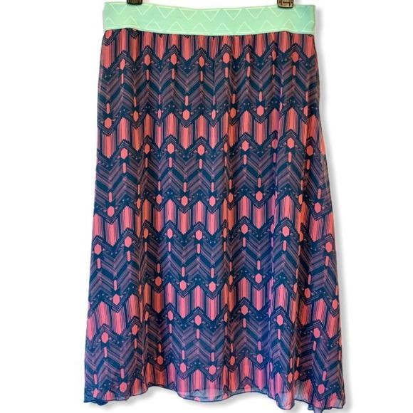 Lularoe Lola Midi Skirt Pink Blue Chevron Medium